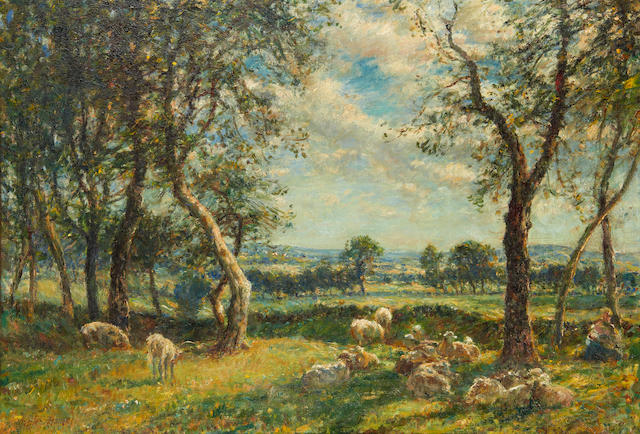 William Mark Fisher, RA (American, 1841-1923) Sheep resting beneath the shade of a tree