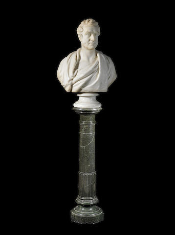 After William Behnes, British (1795-1864) A late 19th century carved white marble bust of Dr Benjamin Travers