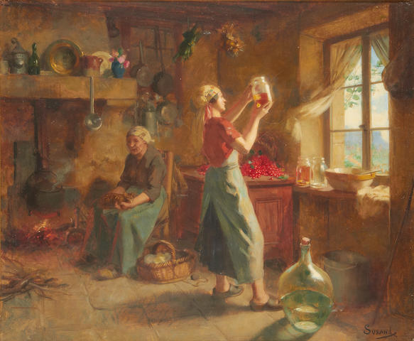 Gustave Surand (French, 1860-1937) Domestic scene with women and cherries