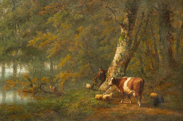 Attributed to Eugène Verboeckhoven (Belgian, 1798-1881), and J. de Vogel Pastoral landscape with a shepherd tending to his animals