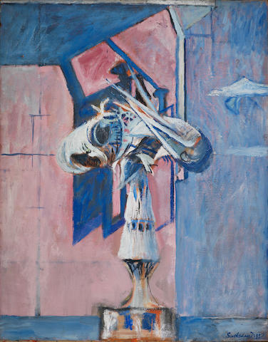 Graham Sutherland O.M. (British, 1903-1980) Head on a Balcony 91.4 x 71.1 cm. (36 x 28 in.)