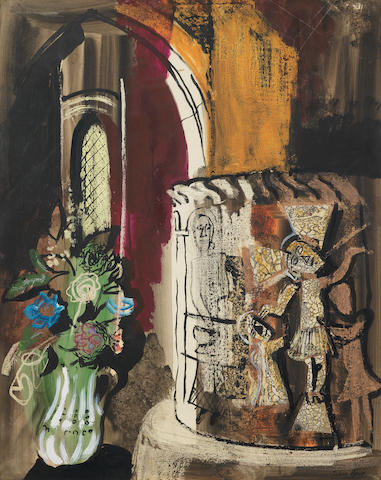 John Piper C.H. (British, 1903-1992) Font and Flowers, North Grimston 68.5 x 53.4 cm. (27 x 21 in.)