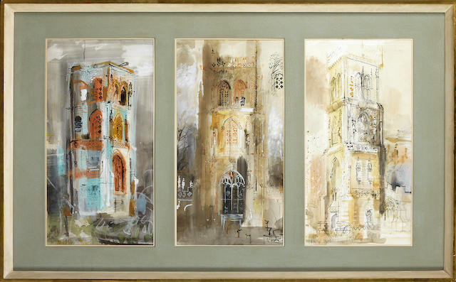 John Piper C.H. (British, 1903-1992) Three Somerset Towers each sheet 68 x 35 cm. (26 3/4 x 13 3/4 in.); overall 68 x 121 cm. (26 3/4 x 47 2/3 in.)