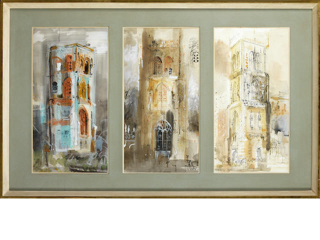 John Piper C.H. (British, 1903-1992) Three Somerset Towers each part 68 x 35 cm (26 3/4 x 13 3/4 in.); overall 68 x 121 cm. (26 3/4 x 47 2/3 in.)