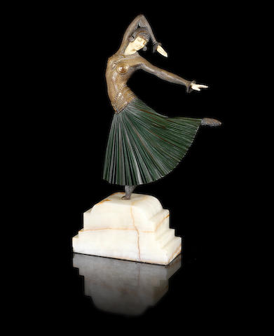 Demetre Chiparus 'Ayouta' a Cold-painted Bronze and Carved Ivory Figure, circa 1925