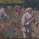 Alexandr Victorovich Moravov (Russian, 1878-1951) Scything the grass