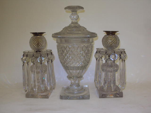 A pair of cut glass lustres and a bonbonniere and cover