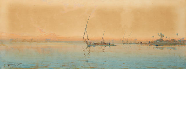 Augustus Osborne Lamplough, A.R.A., R.W.S (British, 1877-1930) A view of Luxor from the Nile; Feluccas along the Nile (2)
