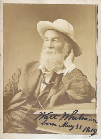 WHITMAN (WALT) Two Rivulets, including Democratic Vistas, Centennial Songs, and Passage to India, with signed albumen print frontispiece, 1876; and Leaves of Grass, with signature, 1876 (2)