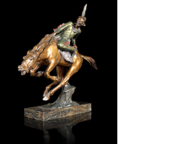 Bruno Zach 'Indian Brave' a Cold-painted Bronze Study, circa 1925