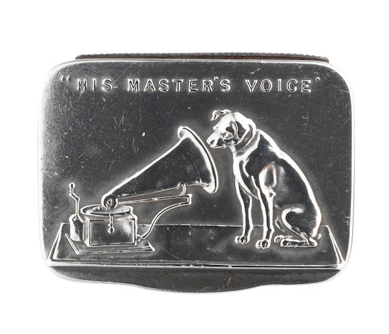 A silver gramophone needle tin/vesta, presented by The Gramophone Company Limited, by Sampson Mordan & Co., Chester, 1907,