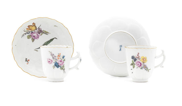 A pair of Meissen chocolate beakers and saucers, circa 1750
