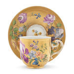 A Meissen cup and saucer 1755 (handle restuck)