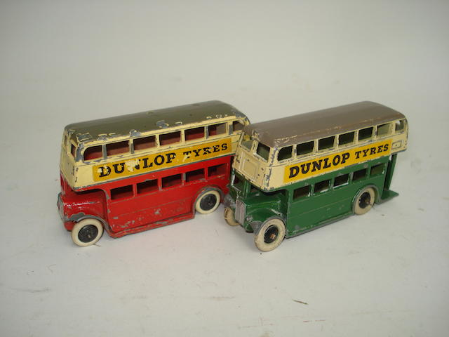 Dinky (pre-war) two 29c 1st type Double Decker buses 2