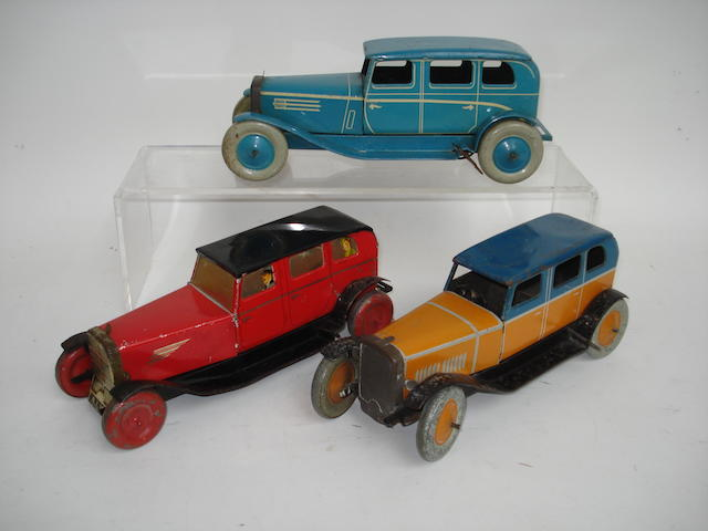 Chad Valley and Burnett tinplate c/w Saloon cars 3