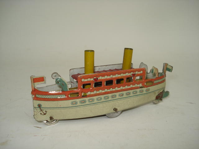 Two Funnel Ocean Liner penny toy, probably Meier