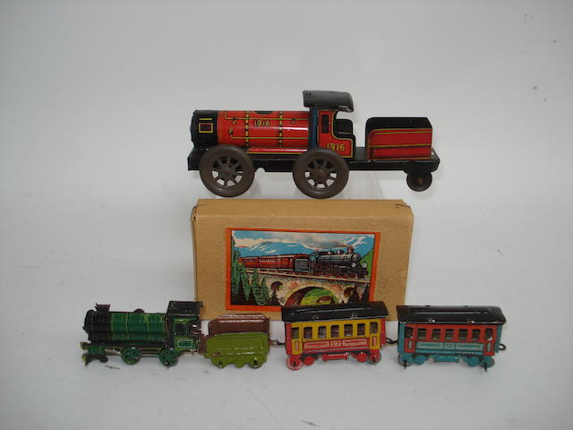 Boxed Kellermann penny toy train set 3
