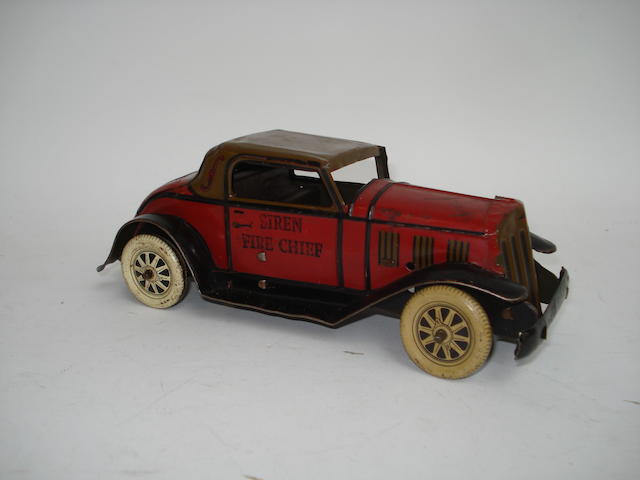 Early Marx (USA) Siren Fire Chief car, circa 1930
