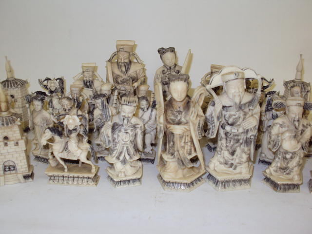 An Oriental ivory chess set