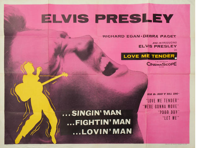 Elvis Presley: a 'Love Me Tender' film poster,