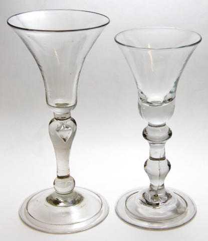 Two light baluster glasses, circa 1725-35