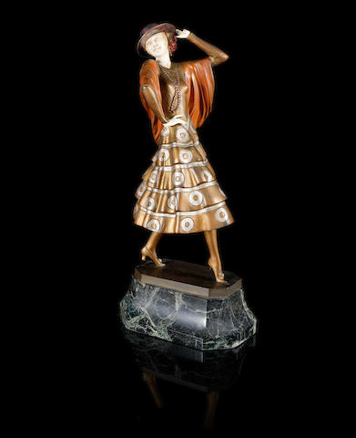 Paul Philippe 'Spanish Dancer' a Cold-painted Bronze and Carved Ivory Figure, circa 1925