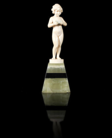 Ferdinand Preiss 'Girl with Casket' a Carved Ivory Figure, circa 1920
