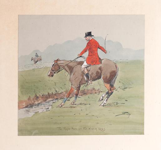 Charlie Johnson Payne, 'Snaffles' (British, 1884-1967) 'The Right Man on the Wrong 'Oss' and 'The Wrong Man on The Right 'Oss.'