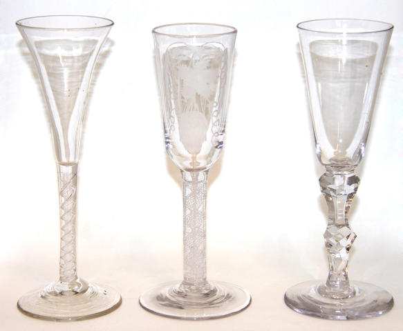 Three glasses, circa 1750-60