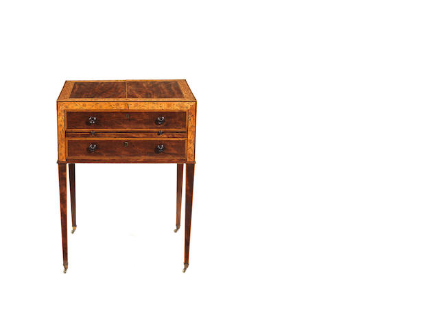 A George III mahogany sycamore and engraved gentleman's dressing table