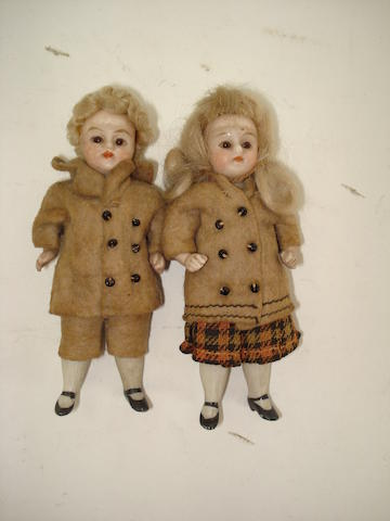 Pair of miniature all-bisque dolls 2