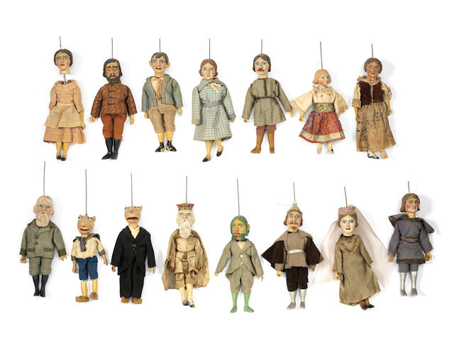 Carved wooden puppet set, German  15