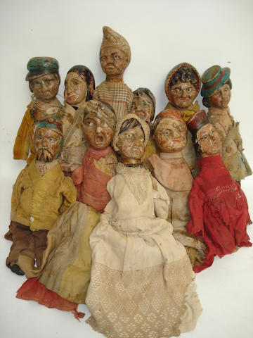 Carved wooden puppet set 11