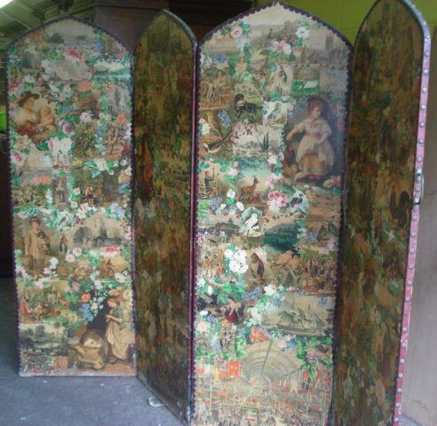 A Victorian four fold decoupage scrap screen, the arched top panel decorated with coloured scraps, loss and damages, 185cm high.