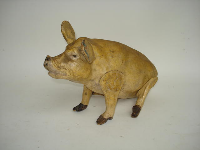 Papier-mache toy pig, French circa 1900