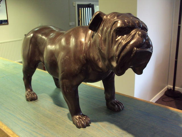A lifesize spelter-type figure of an English Bulldog