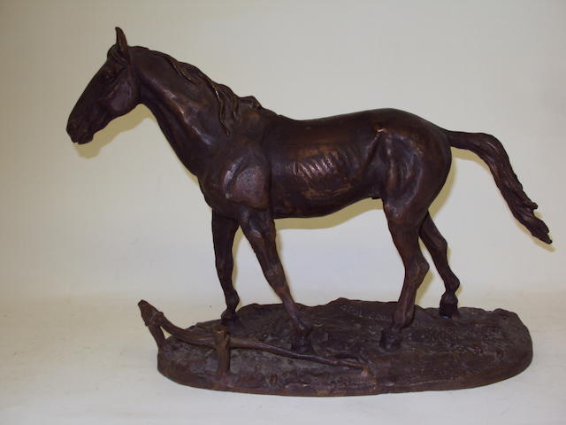 A spelter or metal alloy horse group after Brierre