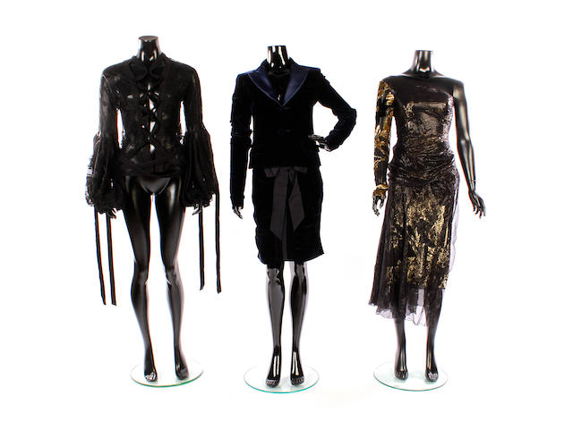 A group of designer evening wear