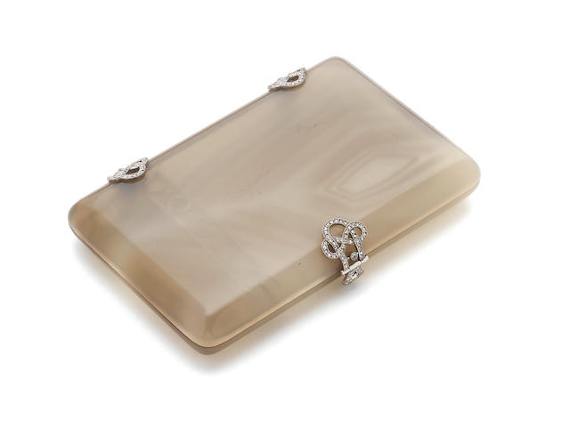 An early 20th century French platinum-mounted and diamond-set agate cigarette case Maker's mark mistruck, (?) B, possibly Boucheron