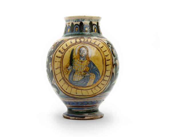 A 17th Century Sicilian maiolica drug jar (damaged)