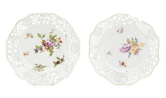 A Meissen dessert plate and a similar Berlin dessert plate, circa 1760-65