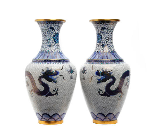 A pair of Chinese Cloisonne vases, Lao Tian Li Circa 1890-1910