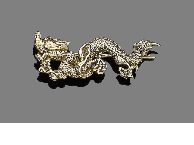A late 19th century gold Chinese dragon brooch