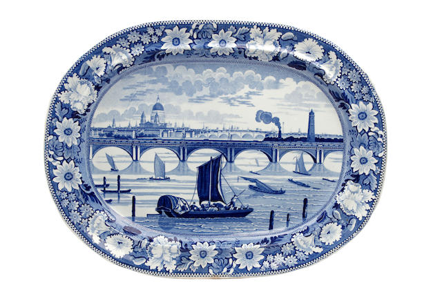 A Godwin blue-printed 'View of London' oval platter Circa 1825