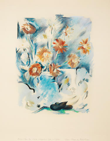 Richard Hamilton (British, 1922-2011) Trichromatic Flower-Piece (Gore Flowers for Robert Fraser) (Lullin 92) Aquatint printed in colours with hand colouring in pastel, 1973-1974, on wove?, signed and inscribed 'Yellow + Magenta + Cyan, with pastel' and 'Gore Flowers for Robert Fraser' in pencil, presumably one of approximately 20 stage proofs aside from the edition of 150, printed and published by Atelier Crommelynck, Paris, with full margins, 661 x 500mm (26 x 19 5/8in)(SH) (unframed)