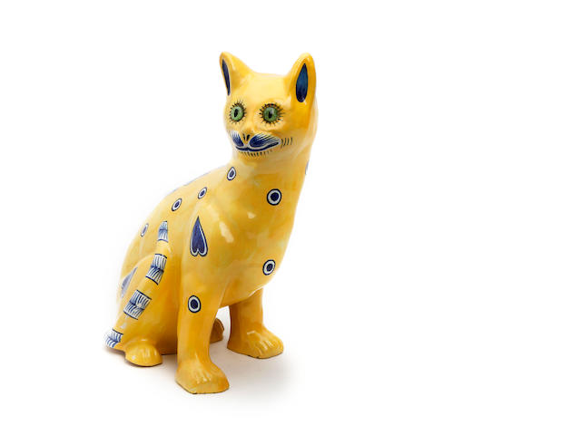 A Gallé style faience cat  Circa 1900