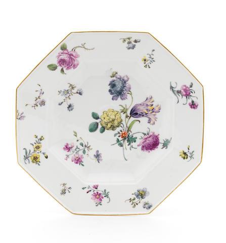 A Meissen octagonal plate, circa 1755