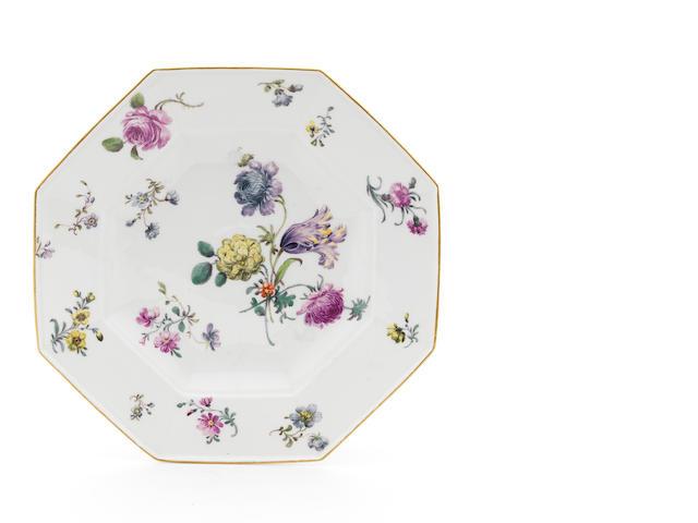 A Meissen octagonal plate, flowers