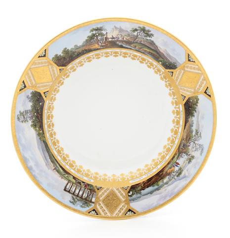 A Vienna royal service soup plate, circa 1798