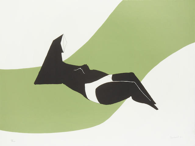 Lynn Chadwick (British, 1914-2003) Figure on a Green Wave Lithograph printed in green and black, 1971, on wove, signed, dated and numbered 54/200 in pencil, published by Erker Presse, St.Gallen, with their blindstamp, the full sheet printed to the edges, 555 x 755mm (21 3/4 x 29 3/4in)(SH)(unframed)